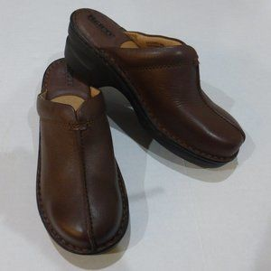 Born Brown Leather Platform Clogs Mules Slides 6